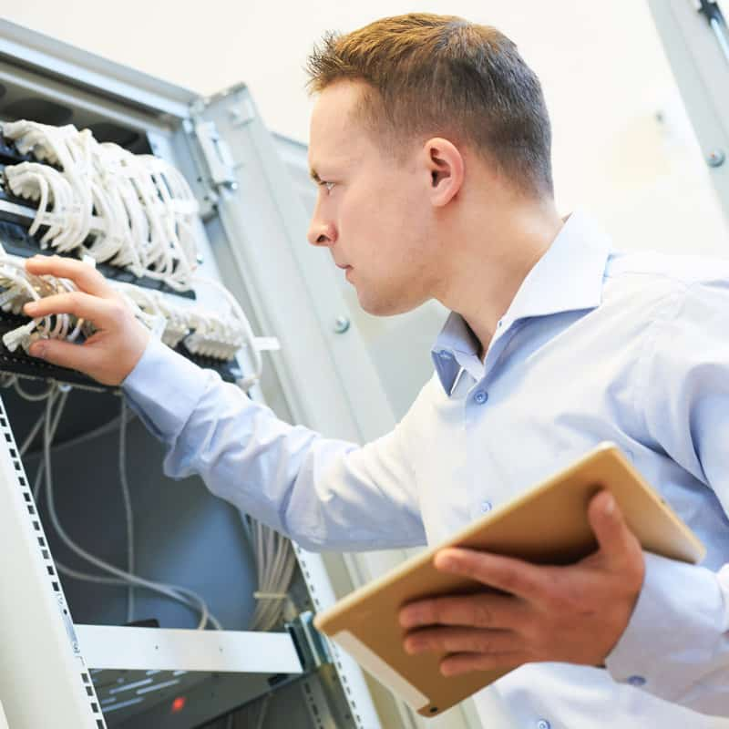 IT Support Service Technician Working on a Server in Tomball